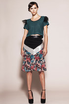 Stop Trying Skirt- Floral Silk Chiffon with Leather Waistband