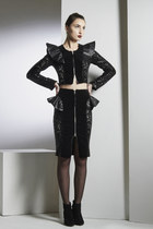 Rebel Rebel Jacket- Cropped Velvet Sequin Leather Ruffle Jacket