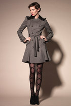 Wool Double Breasted Coat Dress with Leather Collar