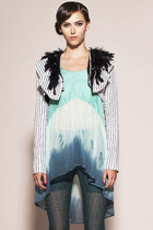 Lady Croissant Jacket- Cropped Striped Ruffle Feather Jacket