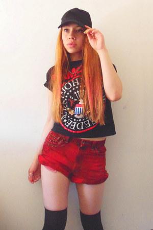 black cotton Ramones Shirt t-shirt - ruby red DIY shorts