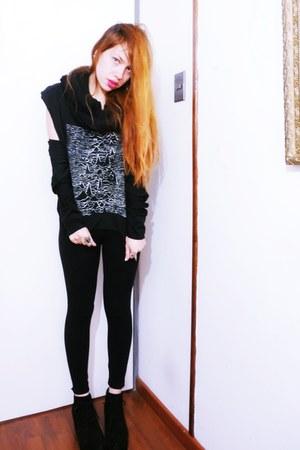 black DIY shirt - black wedges wedges