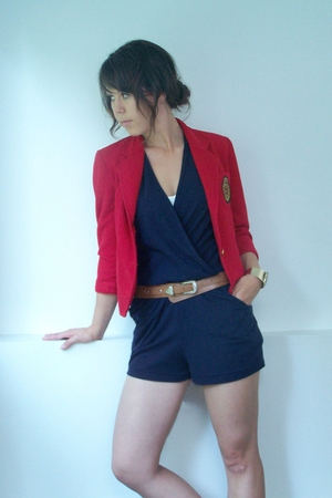 brown belt - red blazer - blue American Apparel top