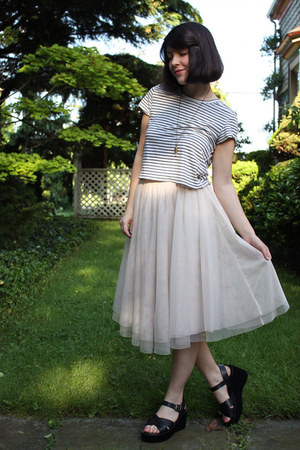 blue diy cropped Target t-shirt - light pink H&M skirt - black platform Kork eas
