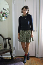black Romeo sweater - black H&M boots - light brown leopard vintage dress