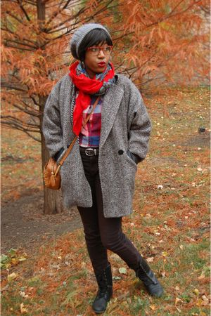 red shirt - silver thrifted vintage coat - brown Urban Outfitters pants - orange