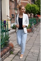 white Sheinside blazer - sky blue fashionatapl pants