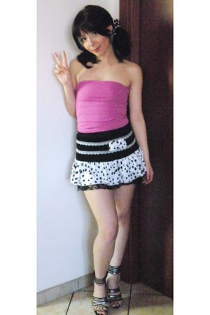 pink Mango top - white online skirt - black online shoes - black  accessories