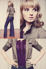 Bootlegger-jeans-purple-rickis-fashion-blouse-green-unknown-jacket-brown-s