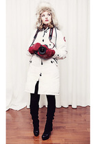 white Canada Goose jacket - red bay gloves - H&M hat