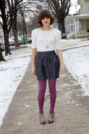 white One Clothing top - gray lucca couture skirt - purple HUE tights - beige NY