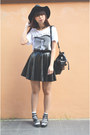 Black-h-m-hat-white-james-dean-h-m-t-shirt-black-leather-handmade-skirt