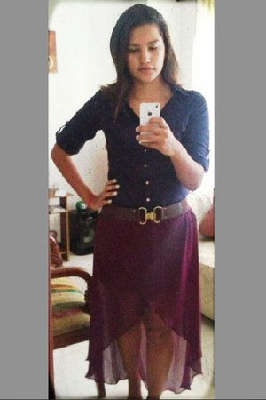 high - low Forever21 skirt - YSL shirt - belt