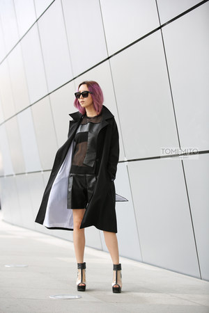 black transparent Jeffrey Campbell shoes - black trench style JED jacket