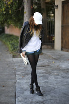 white leather unknown hat - black Miss Sixty jacket - teal asos shorts