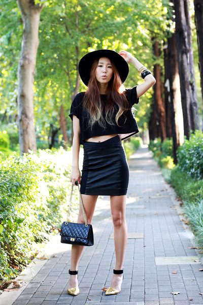 black cropped Forever21 shirt - black Chanel bag - black Jeffrey Campbell heels