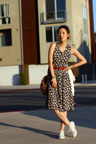 white Converse shoes - navy midi thrifted vintage dress - brick red unknown belt