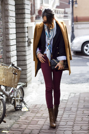 maroon Urban Outfitters jeans - tawny Prada boots