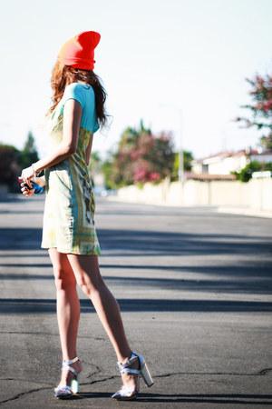 silver Jeffrey Campbell shoes - sky blue Eva Franco dress