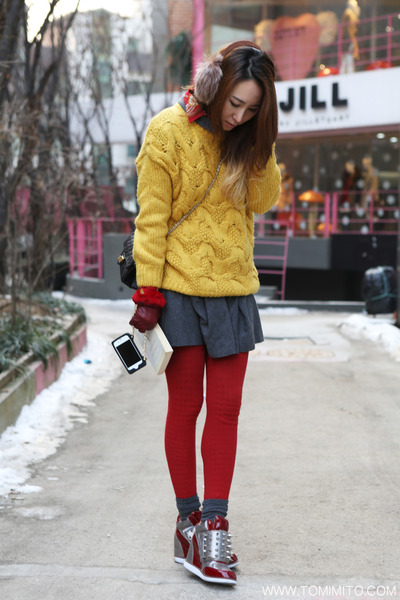 gray H&M dress - mustard G-market sweater - brick red vintage shirt