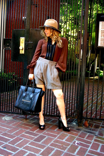 Club Monaco hat - Club Monaco shorts - Celine bag - Chloe top - lanvin shoes