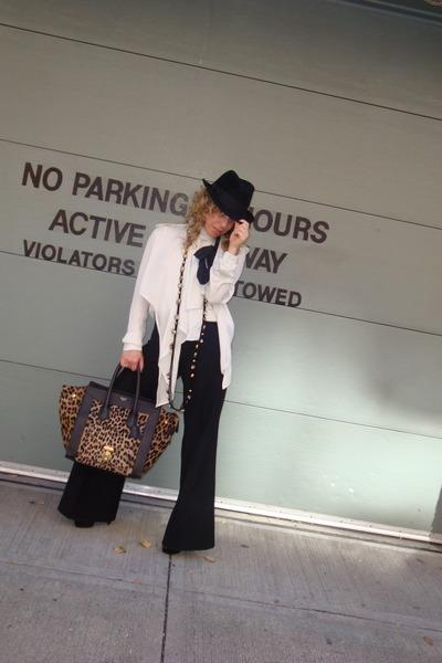Alexander McQueen hat - Celine blouse - Givenchy pants - lanvin necklace - Celin
