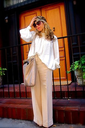beige Devi Kroell pants - silver Chloe top - brown Alexander McQueen scarf - bei