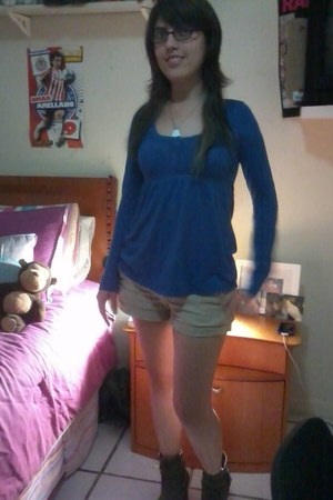 brown Nine West boots - beige hollister shorts - blue blouse