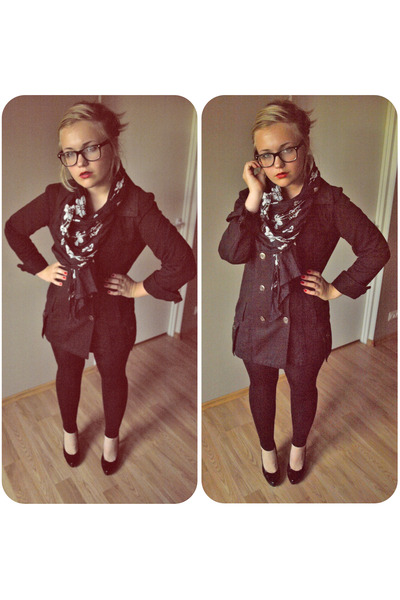 black jacket - black tights - black shoes - black scarf