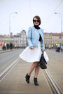 Sky-blue-zara-jacket-white-reserved-skirt