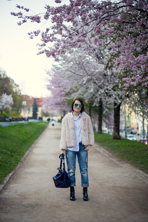 blue Zara bag - ivory H&M coat - sky blue Ralph Lauren shirt