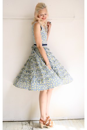 blue vintage dress - tawny platforms Dolce Vita shoes