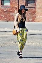 black H&M hat - tawny Zara bag - yellow vintage pants