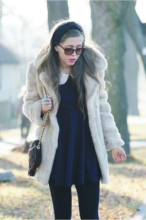 romwe dress - faux fur vintage coat