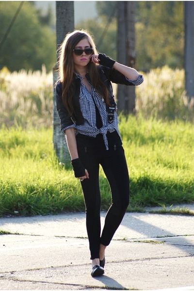 Zara leggings - New Yorker necklace - Dr Martens jacket - H&M sunglasses