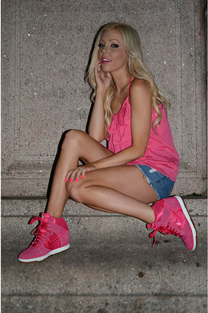 hot pink nike sneakers - high waisted Im Haute shorts - hot pink Im Haute blouse