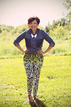 floral pants H&M pants - denim shirt Joe Fresh top