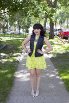 leather vest Forever 21 vest - neon sunflower She Inside dress