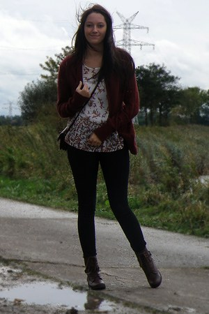 crimson kohls cardigan - dark brown Primark boots - black H&M jeans