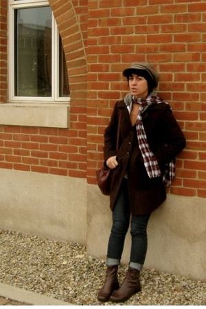 coat - Rich and Skinny jeans - boots - hat - American Apparel jacket
