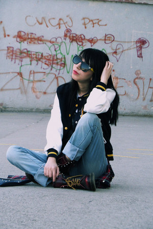 brick red PERSUNMALL boots - navy varsity Lovelyshoes jacket
