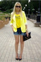 yellow indressme blazer - black asos bag - blue Sheinside shorts