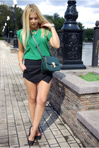green Sheinside blouse - black asos shoes - black Sheinside shorts