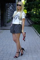 black Sheinside shorts - black UrbanOG heels - white Sheinside blouse