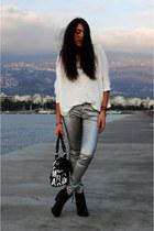 silver pull&bear pants