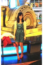 teal sequins Bootlegger dress - ruby red satin Anthropologie heels