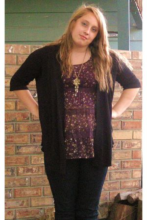 blue Forever 21 jeans - purple xhiliration blouse - black H&M cardigan - black F