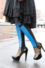 Blue-leather-spandex-stee-letas-boots
