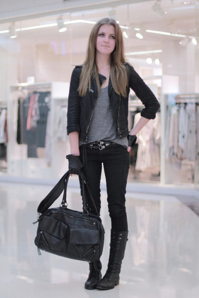 black Bershka boots - black Zara jacket - black Bershka bag - black Zara pants