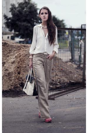 white color block Bag bag